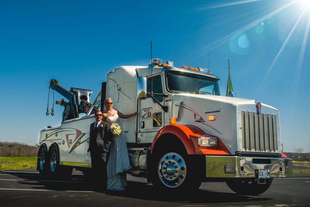 tow truck wedding bride and groom