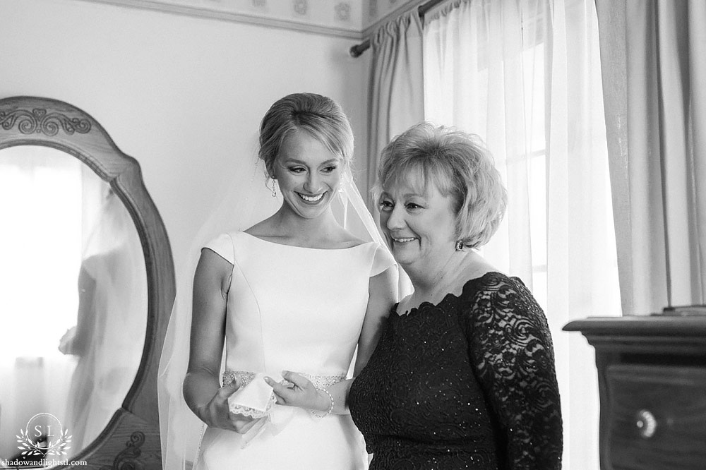 beautiful bride prep mom