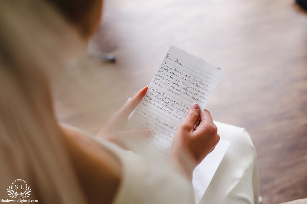 beautiful bride prep letter reading