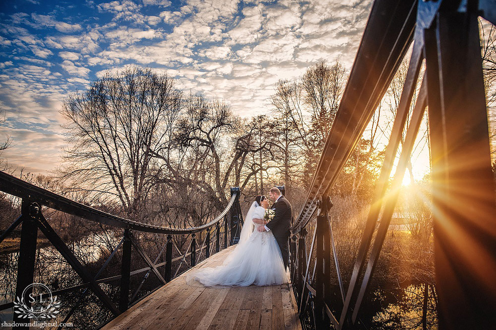 St Louis Forest Park Victorian Bridge Sunset Wedding Bride and Groom