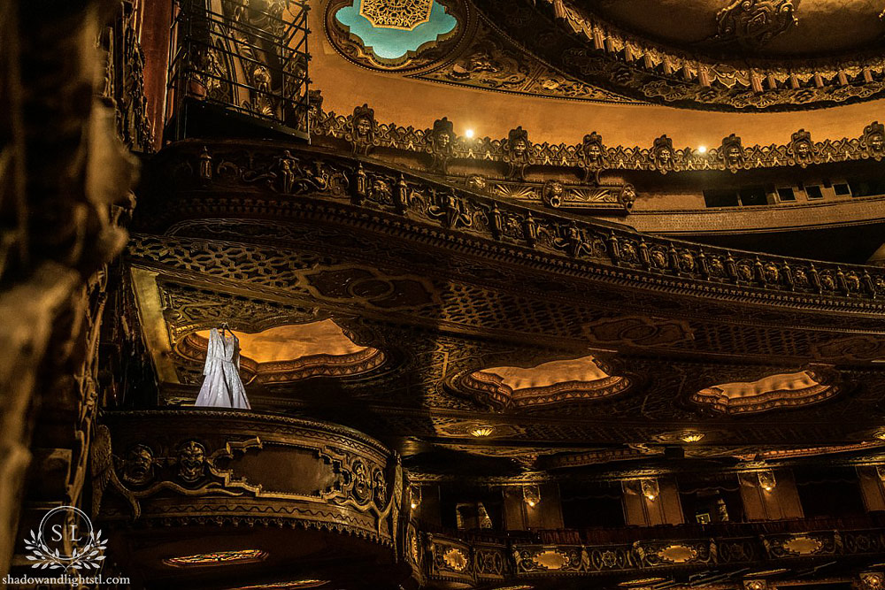 Incredible Fox Theater St. Louis wedding photo with wedding dress