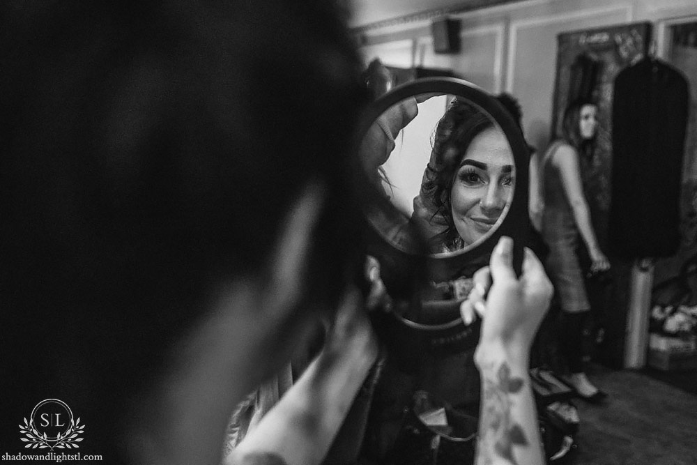 Incredible Fox Theater St. Louis wedding photo with bride makeup