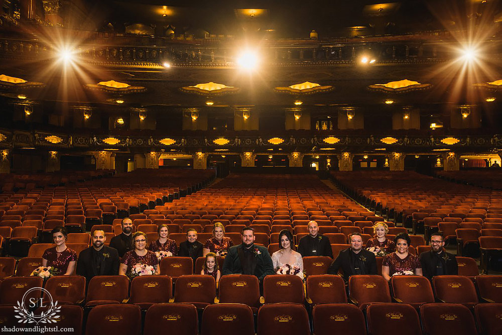 Fox Theater wedding party sitting in seats