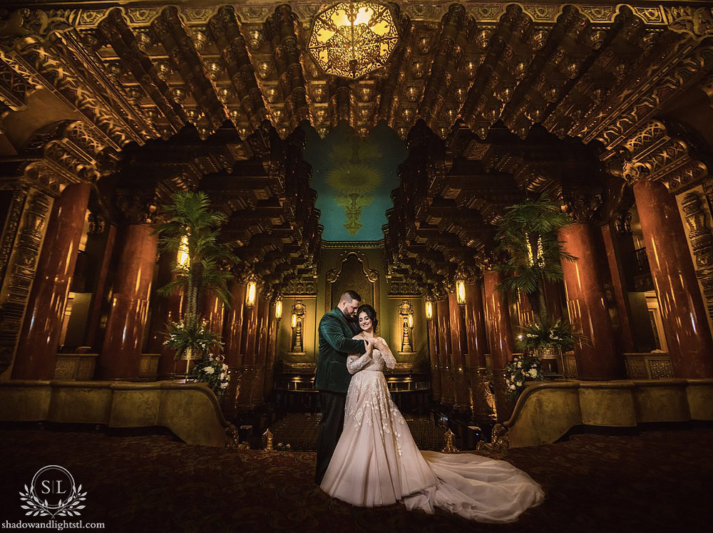 Incredible Fox Theater St. Louis photo with bride and groom