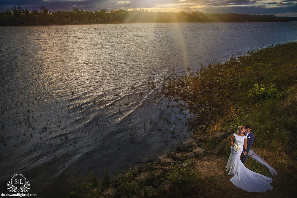 pere marquette waterfront wedding sunset