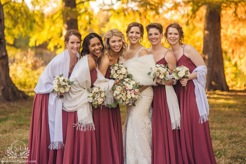 Beautiful Sunset St Louis Forest Park Wedding in Fall