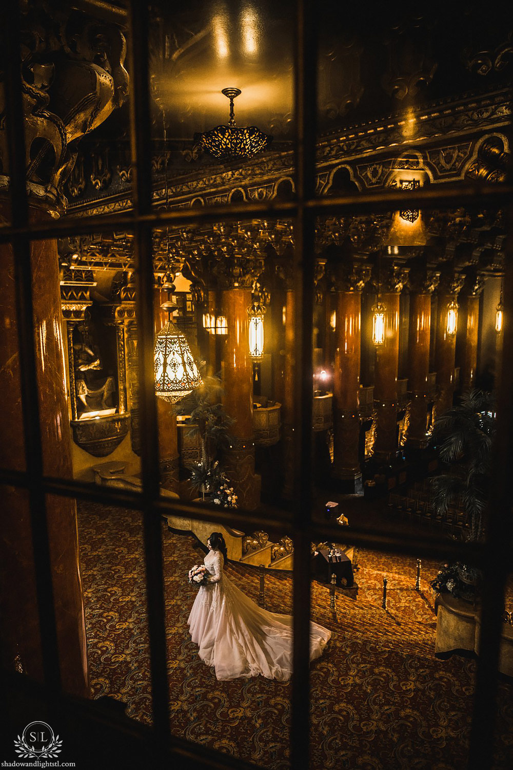 Incredible Fox Theater St. Louis wedding photo with bride