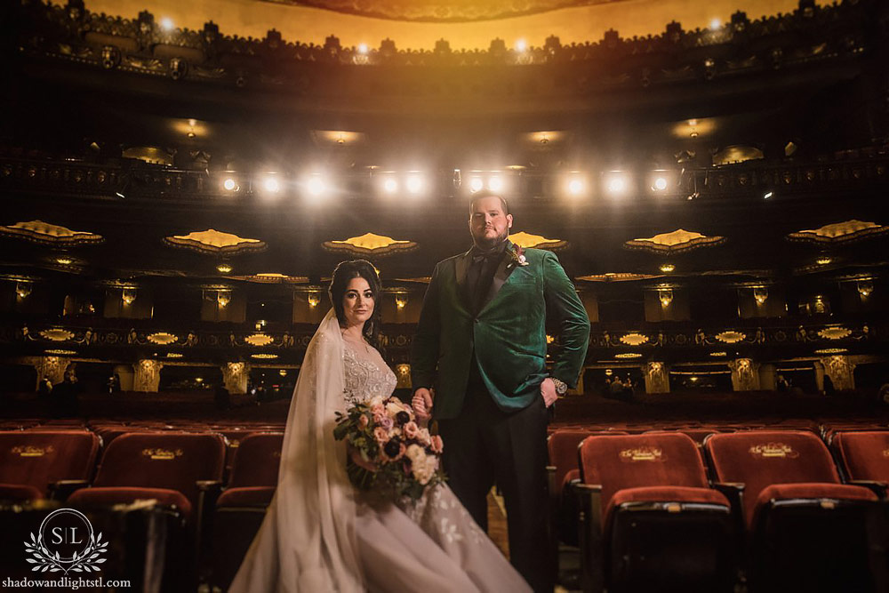 Incredible Fox Theater St. Louis wedding photo with bride and groom